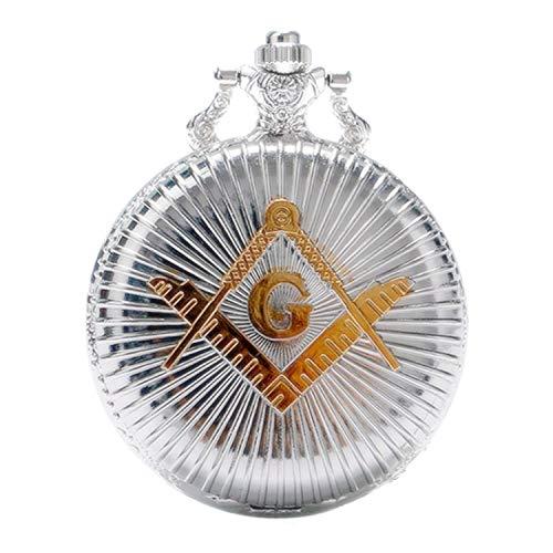 Nueva marca Mall grabado francmasonería masónico plata acabado cuarzo reloj de bolsillo con cadena
