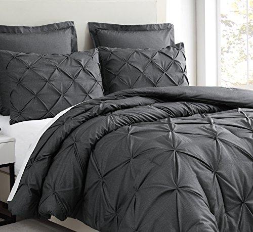 SupraSoft Estellar 3pc Comforter Set Pinch Pleat | Charcoal Grey | Full
