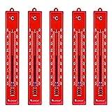 Lantelme Gartenthermometer 5 Stück rot analog Kunststoff Thermometer Set Innen Außen Garten 3298
