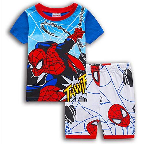 CDREAM Manga Corta Pijamas Conjunto Ropa De Dormir Pijamas Conjunto Tamaño Para Niños 2-7 Años Spiderman