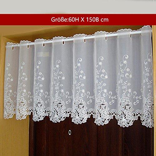 Yujiao Mao 1er Pack Halbtransparent Besticke Weiß Blumen Scheibengardine Küchen Vorhang Tür Gardine J13 HxB 60cmx150cm
