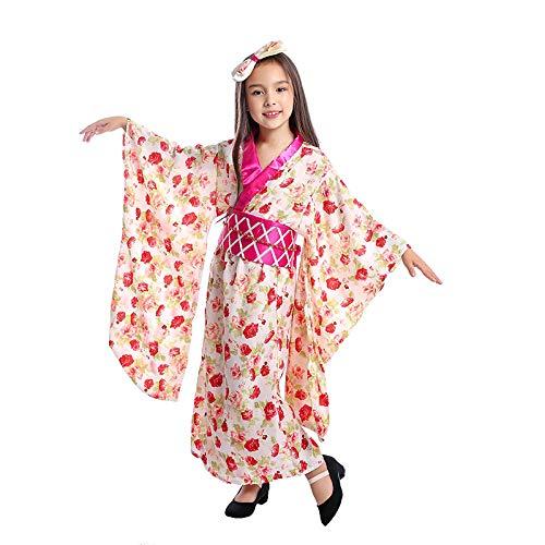 Cosplay Niñas Princesa asiática Geisha Niño Ceremonial Kimono Disfraz Nacional de Halloween Cosplay Vestido de Fiesta Vestido de Fiesta Disfraz único A L