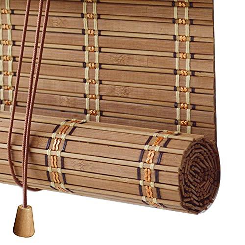 Persianas Enrollables de Bambú Natural,Estores de Bambú para Exteriores,Cortinas Opacas para Ventanas,Persianas de Madera Privacidad Protección para Pabellón Baño de Oficina (100x140cm/39x55in)