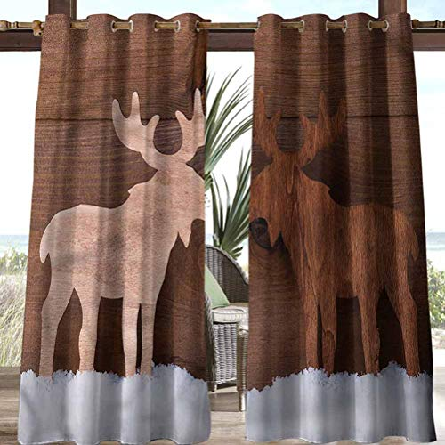Anmaseven Moose Polyester High-end Curtains Outdoor Patio Curtain Panel Romantic Christmas Season 112' W by 95' L(K284cm x G241cm)