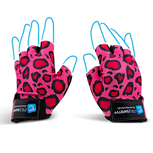 Crazy Safety Bicycle Gloves for Kids (Leopard Pink, Small)