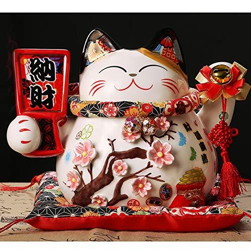 """10""""Porcelana Lucky Cat Maneki Neko Feng Shui-A5"""