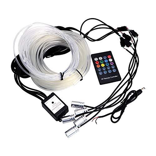 Jually 6 metros Fibra Óptica Atmósfera Lámparas Ambient Lamp App Control remoto RGB Coche Auto Luz Decorativa Luz Interior del Coche (Voz)