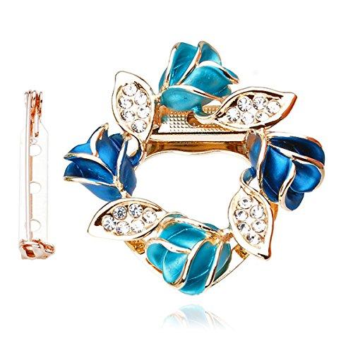 Merdia De Las Mujeres Broche De Clip De Bufanda De Flores Hermosa Bufanda Hebilla Anillo Con El Cristal Creado - Azul
