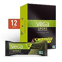 Vega Sport Protein Bar Crispy Mint Chocolate (12 Count) - Plant Based Vegan Protein Bars, Non Dairy, Gluten Free, Non GMO