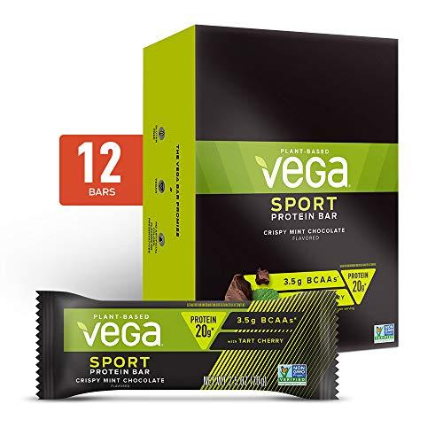 Vega Sport Plant Based Box Crispy Chocolate Mint Protein Bars, 12-Count