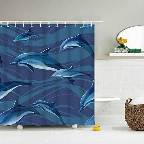 IcosaMro Delphine Duschvorhang für Badezimmer mit Haken, Ozean, nautisch, dekorativer Stoff, Duschvorhang, Baddekorationen, 180,3 cm breit x 72 l, blau