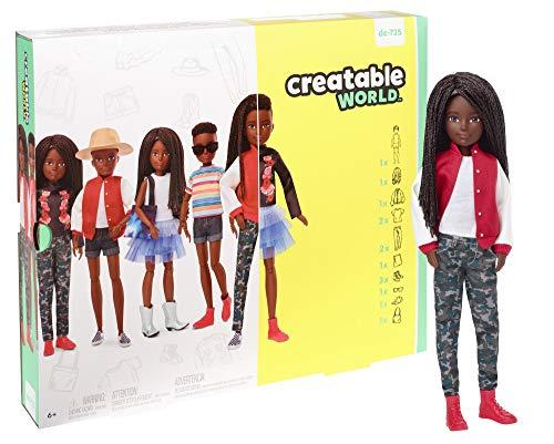Creatable World GGG55 - Deluxe Charakter Puppen Set, individuell gestaltbare gender neutrale Puppe mit schwarzen, geflochtenen Haaren, Spielzeug ab 6 Jahren