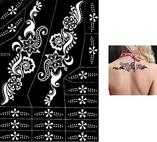 Tattoo Body Art Mehndi sjabloon henna ontwerpen voor eenmalig gebruik S314 voor arm schouder been voet lichaam - geschikt voor henna glitter airbrush tattoo - veel motieven