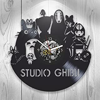 Ghibli Studio, Vinyl Clock, Wall Decor, Handmade Gift, Modern Art, Gift Ideas For Fans, Home Room Decoration, Children's Room Decor, Vintage Vinyl Record, Pop, Anime, Cartoon
