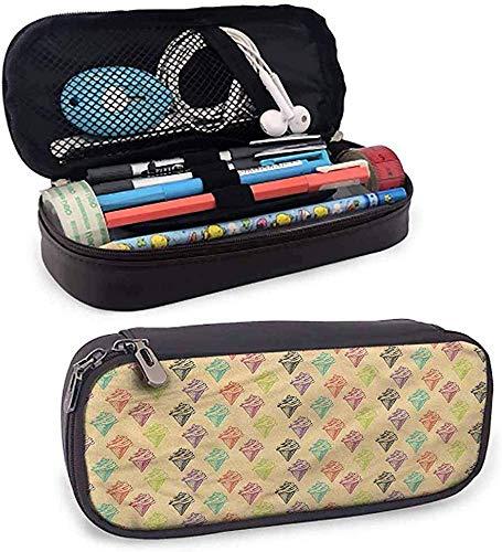 HQSL Ledermäppchen Ice Cream Leather Pencil Case Pouch Pen Box Grunge Icons Small Pen Case Cute