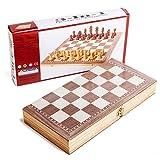 jiji Schach 3 in 1 Holz International Chess Set Brett Reisen Spiele Schach Backgammon Drafts Unterhaltung Schachspiel Magnetisch (Größe : A)