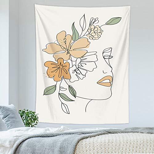 KHKJ Personalidad nórdica Tapiz Colgante de Pared Arte Abstracto Paisaje Mujer Revestimiento de Pared Tapiz Manta Dormitorio decoración A14 95x73cm