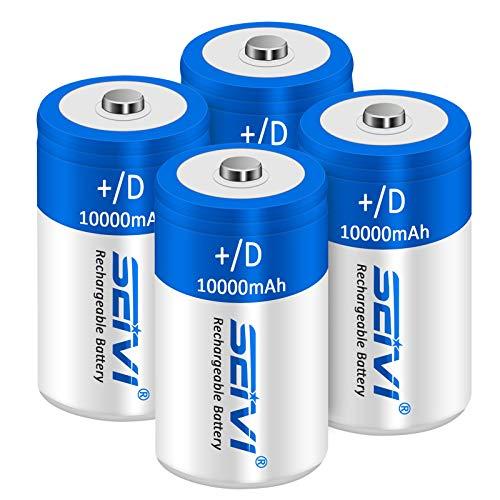 SEIVI 10000mAh D Rechargeable Batteries 1.2V Ni-MH High Capacity High Rate...