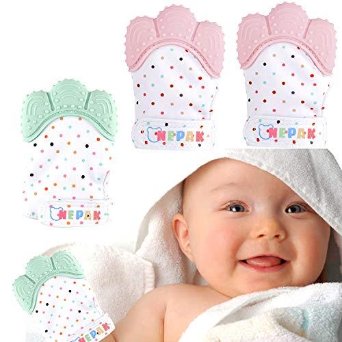 NEPAK 4 Pcs Mitaines de dentition pour bébés,gant de dentition mitaine de dentition en silicone,apaisante Pain Relief,Âge 3–12 Mois Protéger bébé(Pink + Mint Colours)