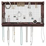 Rustic Jewelry Organizer – Wall Mounted Jewelry Holder with Removable Bracelet Rod, Shelf and 16 Hooks – Perfect Earrings, Necklaces and Bracelets Holder – Vintage Jewelry Display – Torched Brown