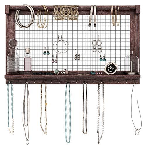 Comfify Organizador de Joyas rústicas - Montado en Pared Organizador de Joyas con extraíble Pulsera Rod y 16 Ganchos Pendientes, Collar y Porta Pulseras - marrón Quemado