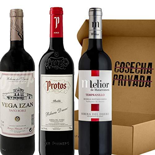 Lote 1.07 Vino Tinto Robles - Ribera del Duero - 3 Botellas - Estuche Regalo - Melior de Matarromera, Protos Roble, y Vega Izán Roble. Añadas pueden variar según bodega