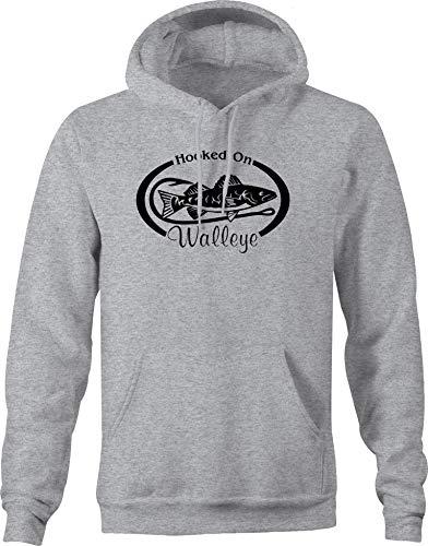 Hooked on Walleye Fishing Graphic Hoodies XLarge Gray