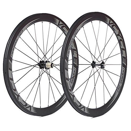VCYCLE Nopea 700C Carbono Bicicleta Ruedas 50mm Tubualr 23mm Ancho UD Mate Shimano o Sram 8/9/10/11 Velocidad