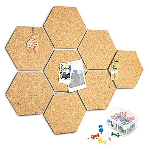 HENMI Lot de 8 tableaux en liège adhésifs - Décoration murale - Plaque de liège ronde multifonction avec bords ondulés pour accrocher des photos-Avec 40 broches multicolores Hexagon
