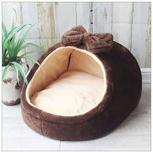 Hondenkennels, kattenkennels, hondenhokken, kleine en middelgrote hondenbedden, kattenhuisdieren in herfst en winter, vier seizoenen Teddy-flanel, universele bedden.-Boogvorm bruin_L + nestmat + deken