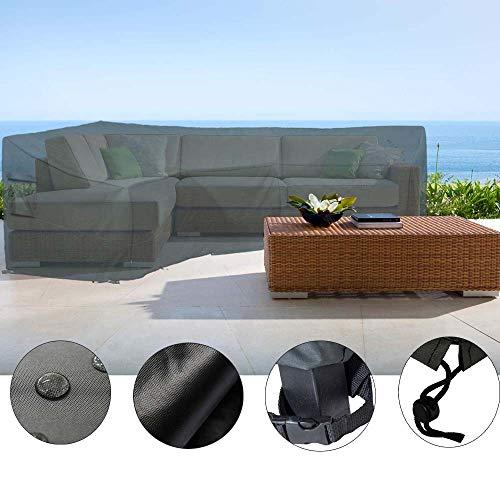 HENTEX Schutzhülle Cover Eckbank für Gartenmöbel Abdeckung L-Form, Grau, 255x255x100x70H cm - 3