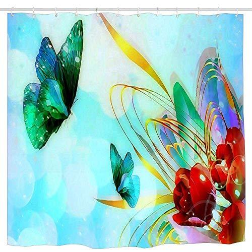 N\A Lovely Pre Vector Geliebte Bright Sparkling Butterfly Designs Tiere Blumen Digital Grün Rot Leuchtende Tulpen Bunte Kunst Blau Badezimmer Duschvorhang Lustig Dauerhaftes Bad Wasserdicht