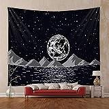 Tapiz de Cambio de Fase Lunar Colgante de Pared Constelaciones de Luna Estrellas en Blanco y Negro Cielo Estrellado Tapiz del Universo