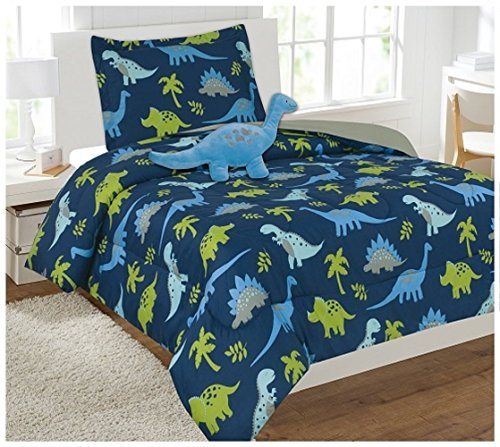 WPM Dinosaur BLUE print bedding set choose from Full/Twin comforter or bed sheets or window curtains panels for kids/girls/boys room (6 Piece Twin Comforter set)