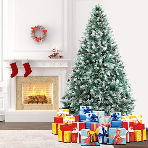 SHareconn 7.5ft Unlit Artificial Hinged Christmas Tree Snow Tree with Pine Cones, 2000 Branch Tips...