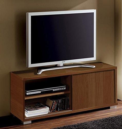 Abitti Mesa de TV módulo bajo Multimedia Color wengué con Puerta corredera y 4 estantes. Mueble de salón Comedor. 109cm Ancho x 40cm Fondo x 46cm Altura