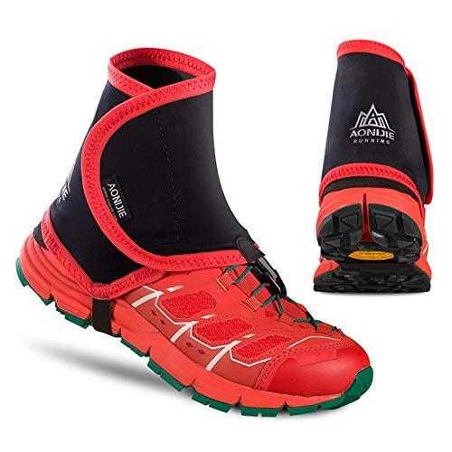 Kurphy Couvre-Chaussures de Protection Anti-Sable pour la Course à Pied Jogging Randonnée Randonnée - Noir Rouge