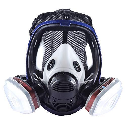 15-in-1 Atemschutzmaske, organische Dampf-Atemschutzmaske, Malerei, Sprühen, chemische Vollgesichtsgasmaske mit doppeltem Aktivkohlefilter, Holzbearbeitung, Staubschutzmaske