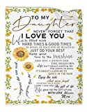 to My Daughter Blanket from Mom Family Love Quilt Letter Printed Quilts Mom for Daughter's Air Mail Blanket Positive Encourage and Love Daughter's Flannel Blanket Gifts 50x60in