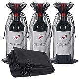 30 bolsas de vino organza, botella de vino bolsa de regalo con cordón para bodas, cumpleaños, fiestas, festivales, regalos, decoración (negro, 750 ml)