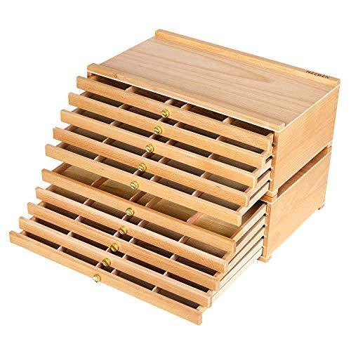 MEEDEN Aufbewahrungsbox für Künstler, 10 Schubladen, große Kapazität, multifunktional, aus Buchenholz, mit Schublade und Fächern zum Organisieren von Pastellfarben, Bleistiften, Stiften, Markern, Pinseln und Stempeln
