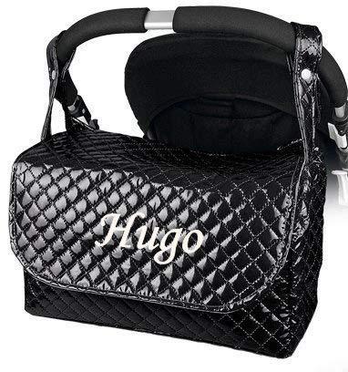 Bolso Plastificado carrito bebe personalizado con nombre bordado Color negro
