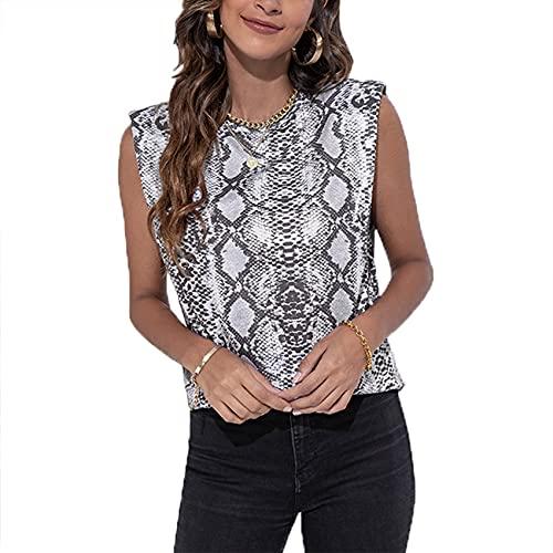 FrüHling Und Sommer Damen Casual Fashion Rundhals Leoparden Schlangendruck Lose äRmellose SchulterstüTze Schulterpolster Weste T-Shirt Damen