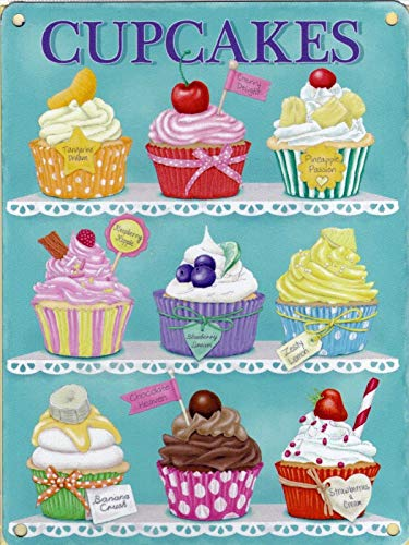 Cupcakes chocolade & kersen taart kleine metalen reclame muurbord Thuis Vintage Metalen bord 8x12 inch