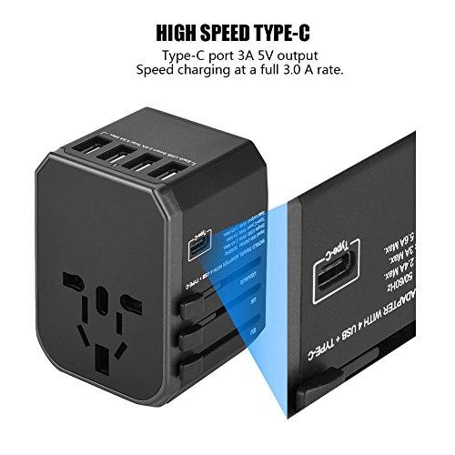 Eboxer draagbare universele reisadapter stekker 4 USB-poorten type C stopcontacten converter voor US/AU/UK/EM