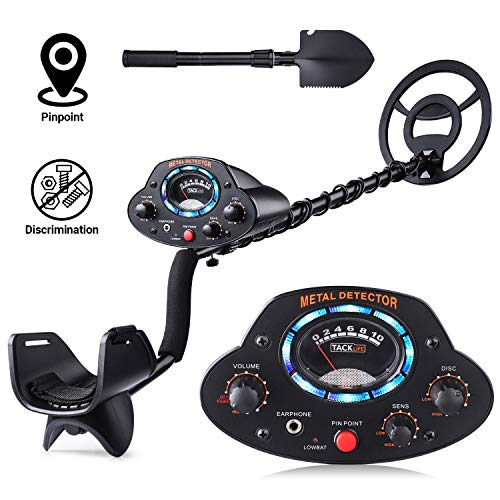 TACKLIFE Metal Detector, Upgraded Adjustable Detectors (41'-53') with DISC Mode, Pinpoint Function, LED Light, Sensitivity and Volume Controller for Adults and Kids - The Newest Version MMD04