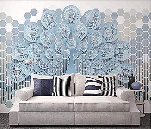 Behang 3D Nordic Minimalist Peacock Hexagon Moderne aangepaste muurschildering Foto Wallpaper muurschilderingen 430cmx300cm