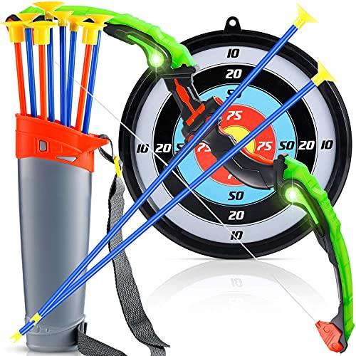 Sovinia Boys Archery Set Pfeil und Bogen Kinder ab 4 Bogenschießen Schießspiele mit 8 Pfeilen, bogenschießen Zielscheibe, Geschenk für Jungen ab 4 Jahre