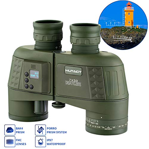 HUTACT 7x50 Military Binoculars for Adults Compact Bird Watching, Built-in Compass and Range Finder, Large Field of Vision, BAK4 Prism FMC Lens Suitable for Hunting, Cross-country and Travel