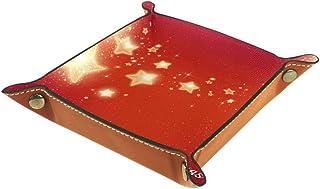 Boîte de rangement de bureau pliable en cuir synthétique pour table de jeu, clés, portefeuille, porte-monnaie, dés, décora...